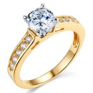 14K Yellow Cathedral-Set 1-CT Round-Cut CZ Ring